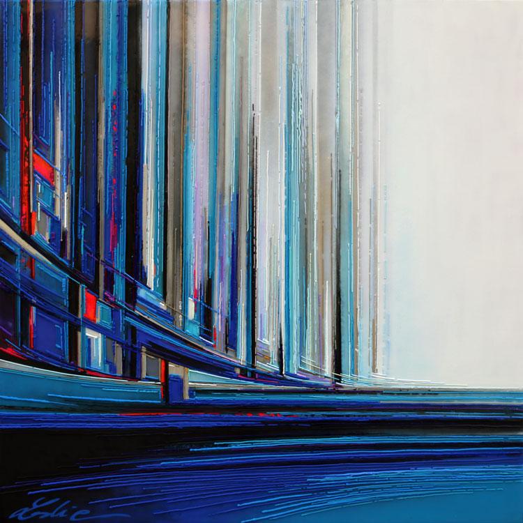 Cité marine 100x100 cm Réf URB0393 leslie berthet laval artiste peintre art peinture tableaux technique mixte spray acrilyque huile résine