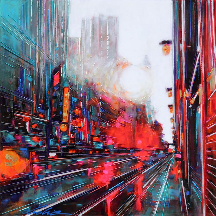 """""""Cité urbaine"""" 80x80 cm Technique mixte huile/toile"""