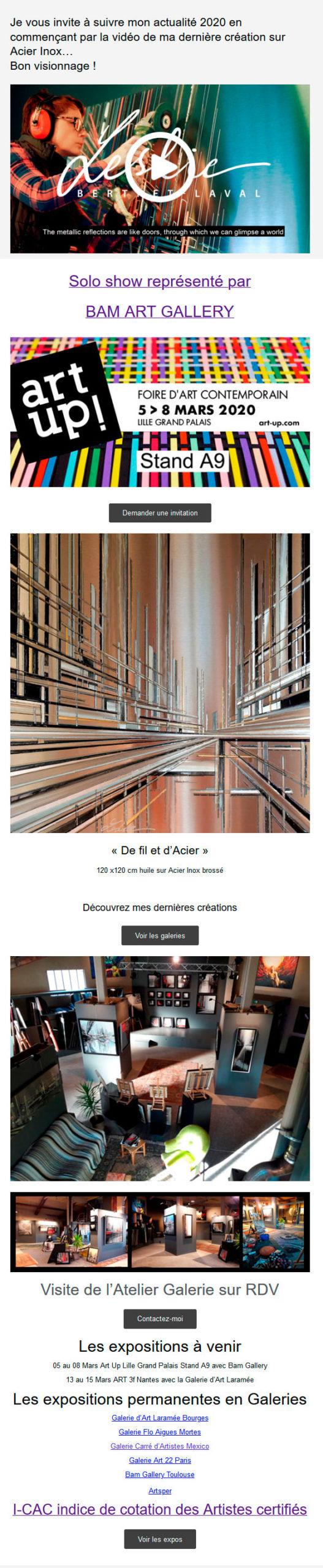 Exposition Art up lilles, vidéo de l'atelier galerie Leslie